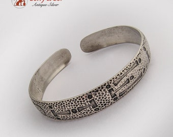 American Indian Pattern Hammered Cuff Bracelet Sterling Silver