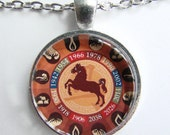 CHINESE YEAR of the HORSE Necklace -- Chinese Zodiac for him and her, Chinese New Year, Astrological birthday present, Zodiac art