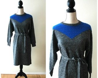 ON SALE Vintage grey and cobalt blue sweater dress with waist tie.