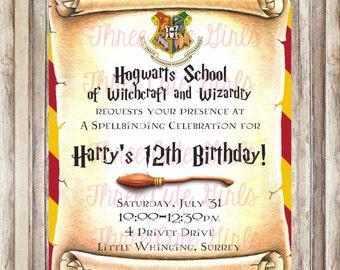 Harry Potter Inspired Birthday Invitation - Digital File