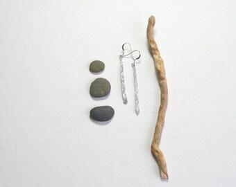 long silver earrings, hammered silver, boho earthy jewelry, rustic silver earrings, tree branch earrings