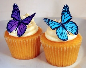 Edible Butterfly Cake Decorations Purple and Turquoise Edible Butterflies Set of 12 DIY Cake Decor Edible Cake Decorations, DIY Wedding Cake