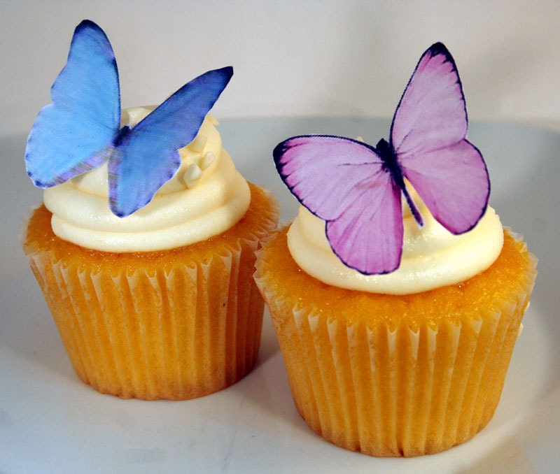 Butterfly Edible Cake Images : Edible Butterfly Cake Decorations Pink and Blue Edible