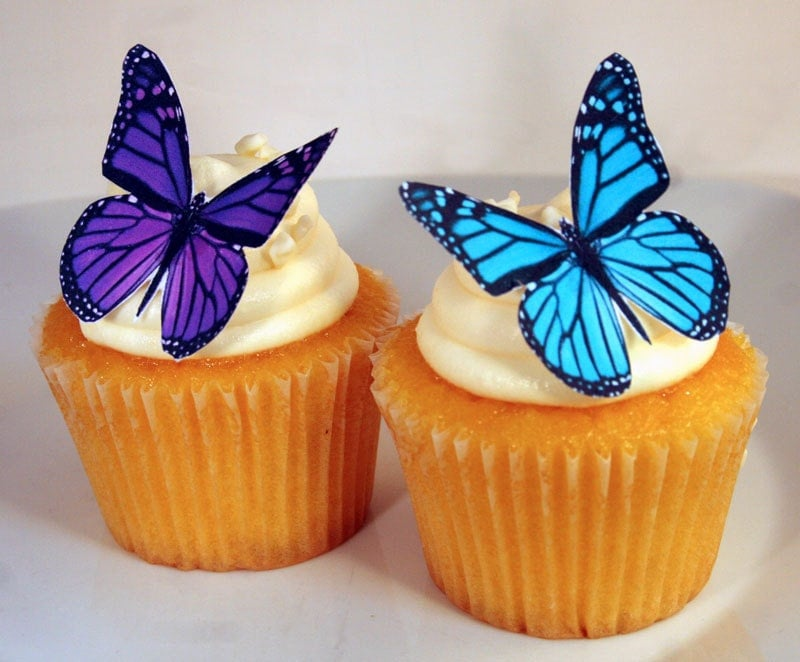 gâteau papillon comestible décorations turquoise et violet