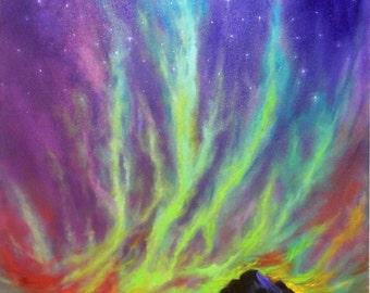 Aurora Borealis Northern Lights Scenic Sky Oil Painting