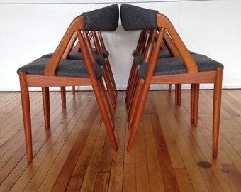 Danish Teak Set of 6 Dining Chairs by Kai Kristiansen Midcentury
