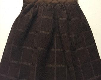 Oven Door Hanging Towel  Pot Holder and Hand Towel--Brown  Microfiber Polyester/Cotton Towel