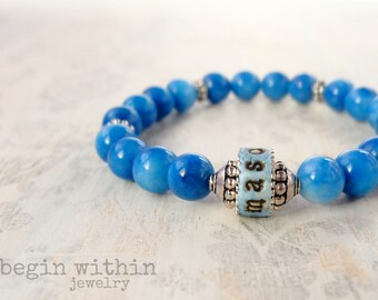 Mama Bracelet / Blue Jade Personalized Mother's Bracelet with Child's Name / Mother's Birthday Gift