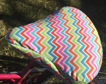 premium PUL mulicolored chevron fabric  waterproof cruiser bike seat cover, pink, blue, green, orange chevron