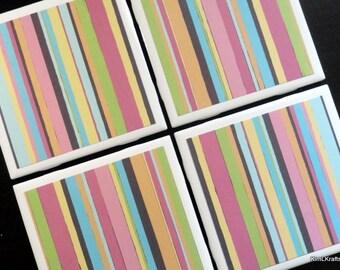 Striped Coasters, Tile Coaster, Tile Coasters, Coaster, Coasters, Ceramic Coasters, Table Coasters, Drink Coasters, Coaster Set of 4