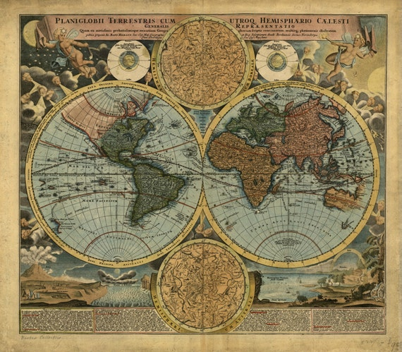 Canvas world map print antique world map 1712 vintage like this item gumiabroncs Image collections