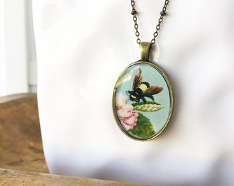 Honey Bee. Vintage Style Long Pendant Necklace.