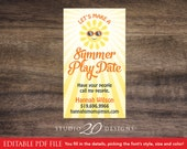 Instant Download Summer Play Date Cards Editable Pdf, DIY Mommy Calling Card, Gender Netural Kids Business Play Card AUTOFILL Enabled 20B