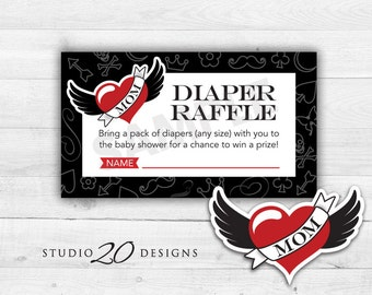 Instant Download Winged Heart Tattoo Baby Shower Diaper Raffle Game Cards, Printable Rockabilly Baby Shower Raffle, Gender Neutral #28A
