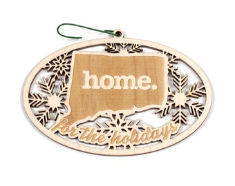 Engraved Connecticut Wood Christmas Ornament