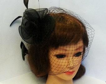 Birdcage veil Wedding Lady's hairpiece Black Vintage inspired Teardrop HAT Busher veil fascinator Black White Ivory birdcage veil fascinator