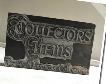 Collectors Items Letterpress Printers Block~Wood & Metal Vintage Industrial Typography- Old Beautiful Script! Large Block/ item# 0601