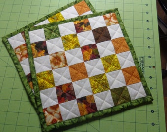 two hot pads, pot holders, quilted, hand made, hostess gift Thanksgiving, Fall, Autumn colors