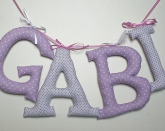 """Customized name banner. Personalized Decor. Fabric Wall Letters. Big Letters 7,1"""". Name of Child, Name Banner. Nursery decor. Made to order"""