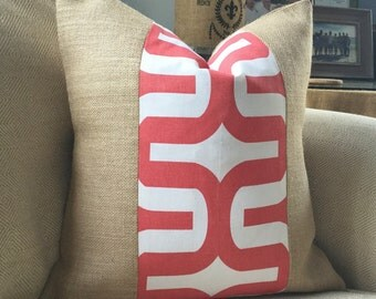 Coral & White Pillow Cover in Premier Prints Embrace Fabric