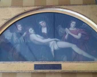 Reduced -Antique Francesco Francia (1450-1518) Die Grablegung Religious Etching Under Glass - Religious Icon