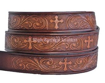 Cross Leather Name Belt