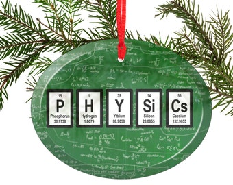 Periodic Table Physics Green Chalkboard Image Beveled Glass Ornament