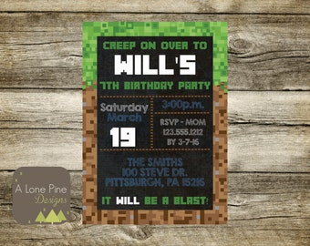 Pixel Made Birthday Invitation