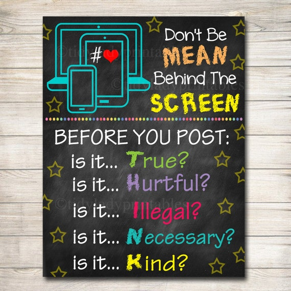 Classroom Decoration Elementary ~ Anti cyber bully poster classroom decor counselor office