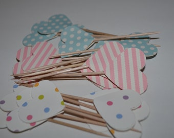 Baby shower cupcake toppers, polka dot cupcake toppers, cute cupcake toppers, baby shower food picks, unique toothpicks, heart cupcake