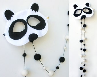 Felt Balls GARLAND + Panda MASK. Child Mask. Black White Felt Balls Garland. Kids gift set.Kids Mask.Children Mask.Pom poms.Animal Mask