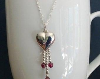 Sterling Silver Heart Tassel Necklace
