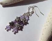 Silver Flower Earrings with Lavender Accents
