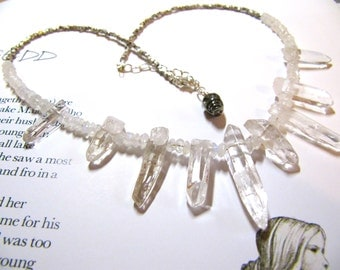Ariel: natural polished quartz points, faceted Hill Tribe silver and moonstone necklace