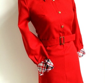 1960s, Trevira -  Red Belted Wool Mini Dress (S Fit)