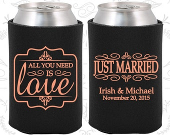 All you need is love, Wedding, Just Married Wedding Favors, All you need is Love Wedding Favors, Vintage Wedding Favors, Can Coolers (528)