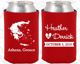 Greece Wedding Gifts, Coolies, Destination Wedding Favors, Greece Favors, Athens Save the Date (177)
