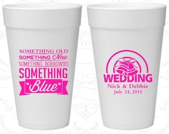 Something Old, Something New, Something Borrowed, Something Blue, Printed Foam Cups, Wedding Bells, Styrofoam Cups (466)