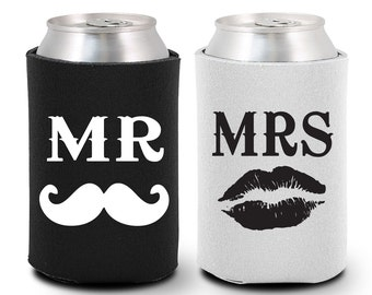 Bride and Groom Can Coolers (BG1003) Mr and Mrs - Mustache and Lips - Bride and Groom Gift - Bride and Groom Coolies