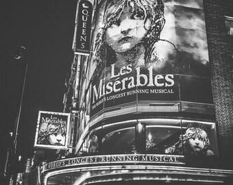 London Photography, London, England, UK, Les Miserables, theatre, London wall art, London decor, London Queen's theatre photo