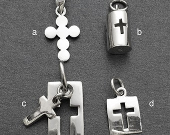 925 Solid Sterling Silver Cross Tag Pendant/Cross Pendant/Polished