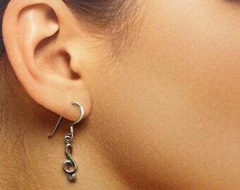 925 Solid Sterling Silver MUSIC NOTE Earrings / Treble Clef Earrings / Music Lover Jewelry/ Dangle/ Hook Earrings