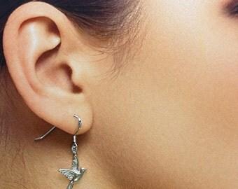 925 Solid Sterling Silver BLUEBIRD Earrings/Dangling/Lovely Bird Jewelry Silver/Small Bird Dangling Earrings