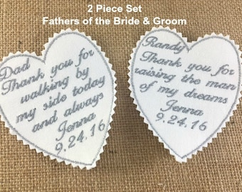 Father of Bride AND Father of Groom Wedding Tie Patches - Thank You For Walking, Thank You For Raising, Sew On or Iron On Patches - SET OF 2