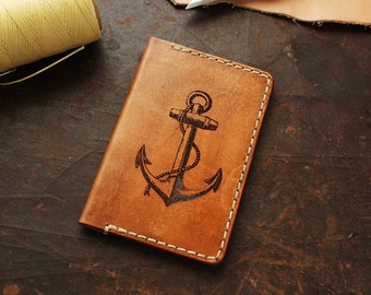 Mens Leather Credit Card Wallet  -  Engraved Anchor