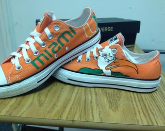 University of Miami hand painted  shoes