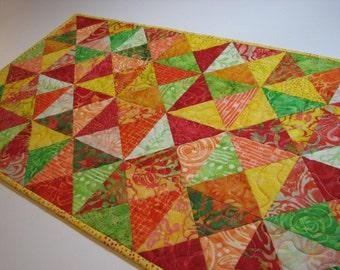 "Quilted Table Runner, Scrappy Batik Table Mat, Modern Summer Table Runner, Orange Yellow Green Table Runner, 36""x14"", Quiltsy Handmade"