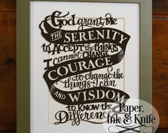 God Grant Me the Serenity, Courage and Wisdom. Serenity Prayer Papercut Template.  Commercial & personal use. PDF and SVG files.