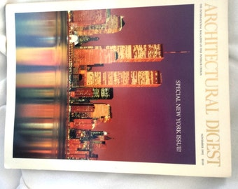 Architectural Digest Magazine November 1992 Beautiful front cover of the Twin Towers, World Trade Center and NY Skyline