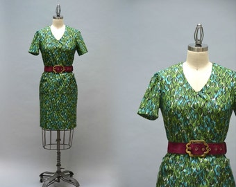 50s Sheath Dress - Vintage Fifties Green and Blue Abstract Leaf Print Cotton Short Sleeve Summer Dress With Pockets Size Medium Large